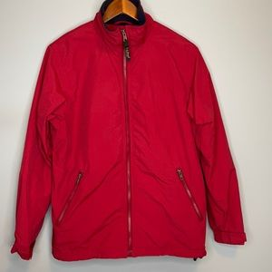 """L.L. Bean red fleece lined """"warm-up"""" bomber jacket with zip pockets Size Sm"""
